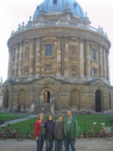 Family's visit--Here we are in front of Radcliffe Camera which houses many collections and additional reading rooms for the Bodleian Library.  (photo taken by Katie)