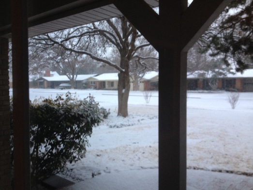 We got snow during our visit with my Grammy and Aunt Barbara in Lubbock in February.